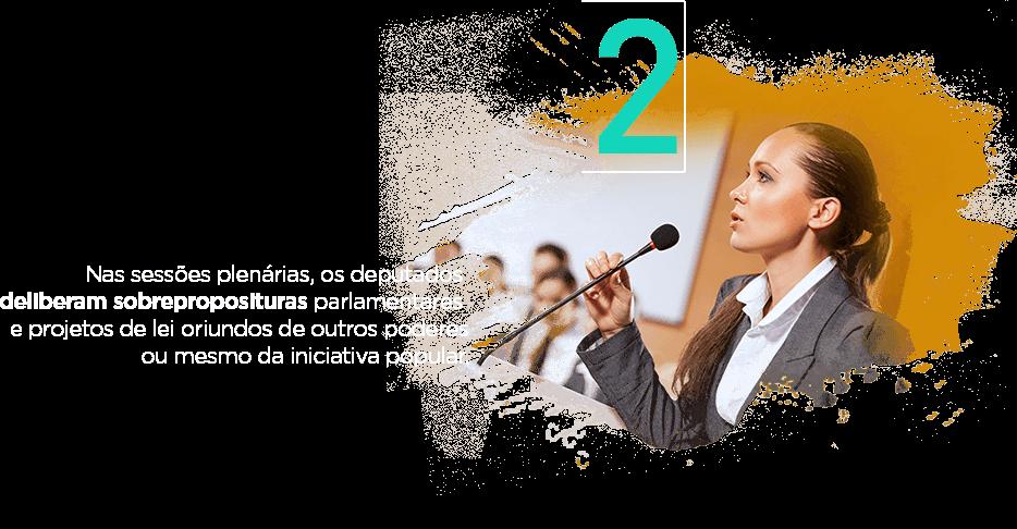Nas sessões plenárias, os deputados deliberam sobreproposituras parlamentares e projetos de lei oriundos de outros poderes ou mesmo da iniciativa popular.