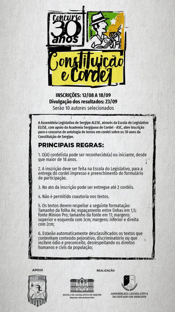 Concurso de Cordel - 30 anos da Constituição Sergipana